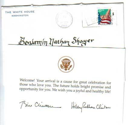 Letter from President Clinton (10/00)